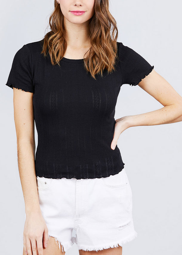 Short Sleeve Pointelle Knit Black Top
