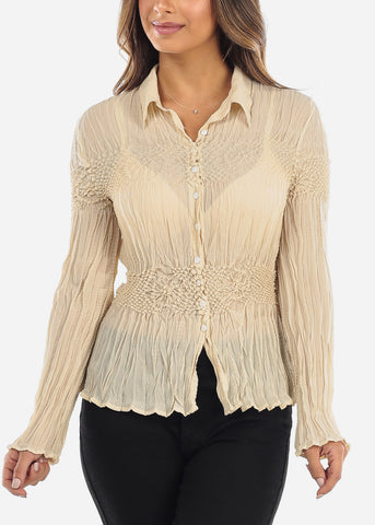 Beige Crinkle Pleated Blouse 513TAUPE