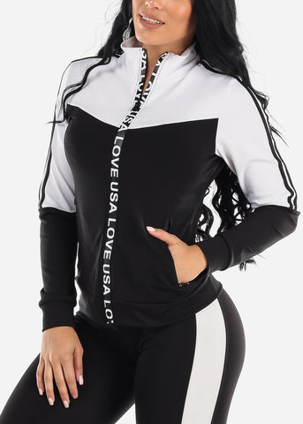 Activewear Colorblock White Jacket
