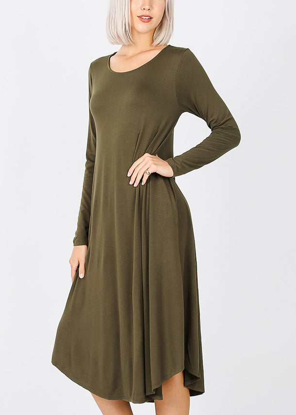 Olive Long Sleeve Pocket Dress