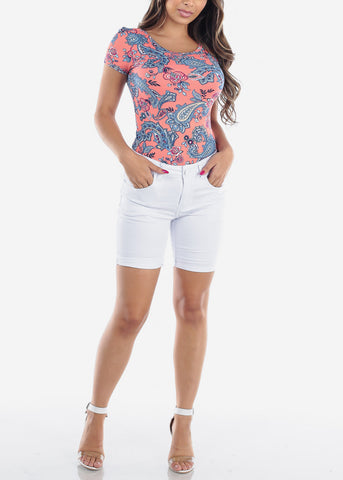 Casual Cute Flower Print Stylish Top For Women Ladies Juniors At Discounted Prices
