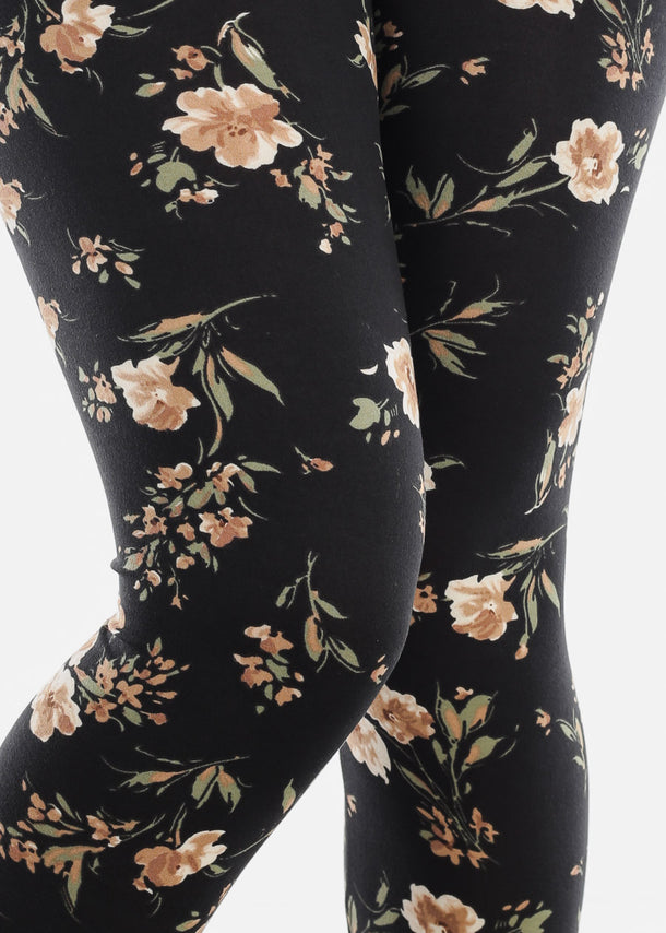 Floral Print Black Leggings
