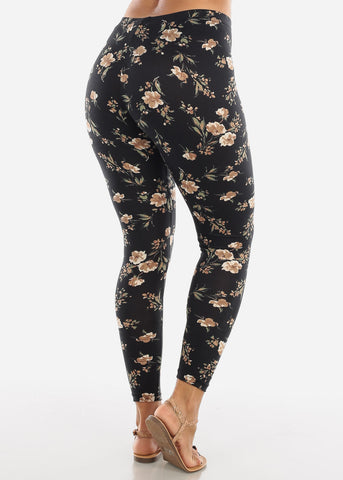 Floral Print Black Leggings L136BLK