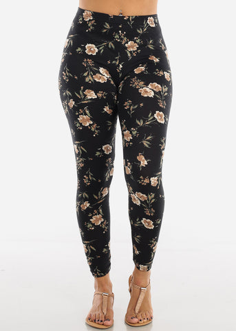 Image of Floral Print Black Leggings L136BLK
