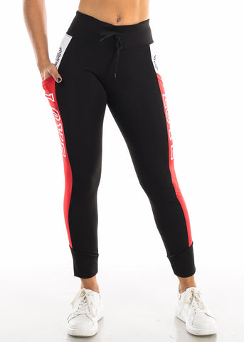 "Activewear Red & Black Leggings ""Love"""
