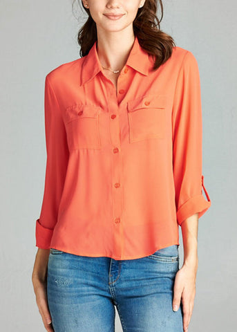 Office Business Wear 3/4 Sleeve Button Up Coral Blouse Top