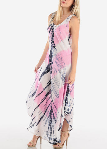 Women's Junior Ladies Summer Vacation Sleeveless Racerback Tie Dye Round Hem Pink Maxi Dress