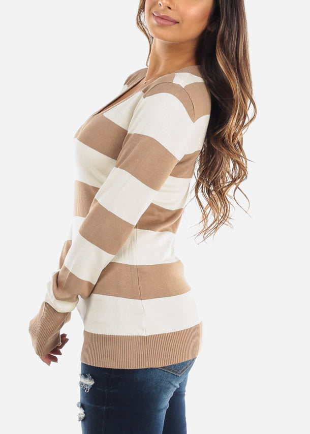 Beige & White Stripe V-Neck Long Sleeve Sweater