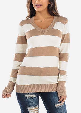 Image of Beige & White Stripe V-Neck Sweater SW235KHKWHT