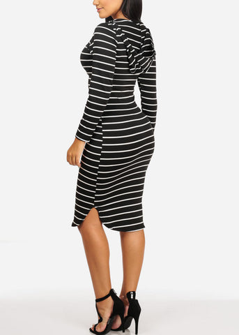 Image of Stripe Bodycon Black Dress W Hoodie