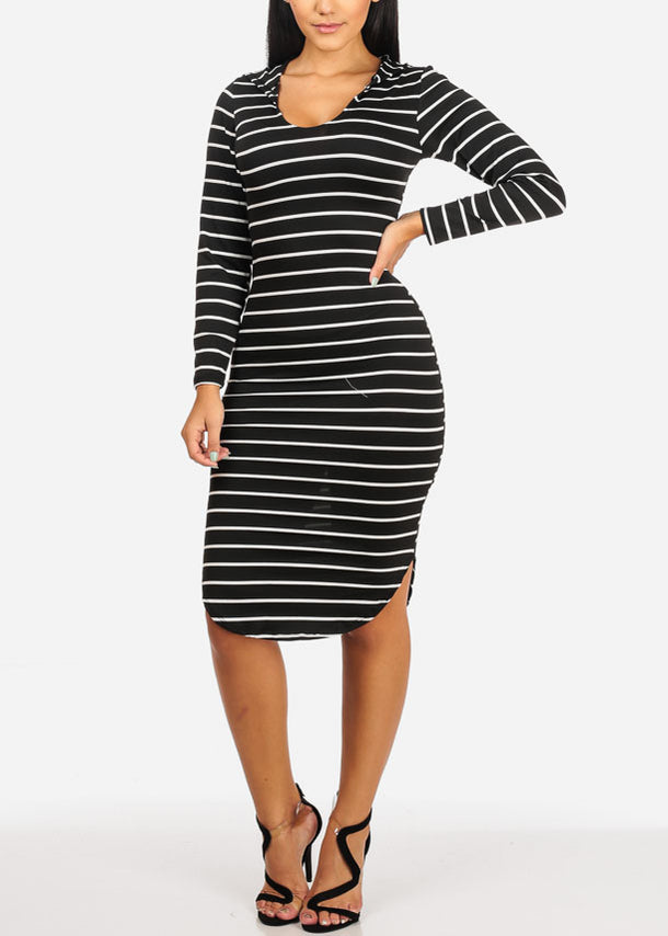Stripe Bodycon Black Dress W Hoodie