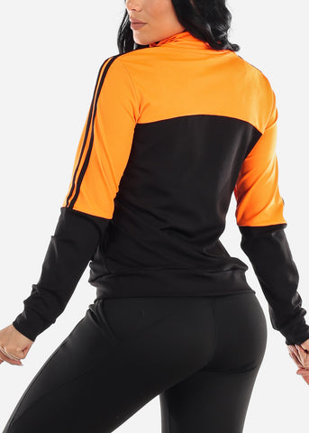 Activewear Colorblock Neon Orange Jacket