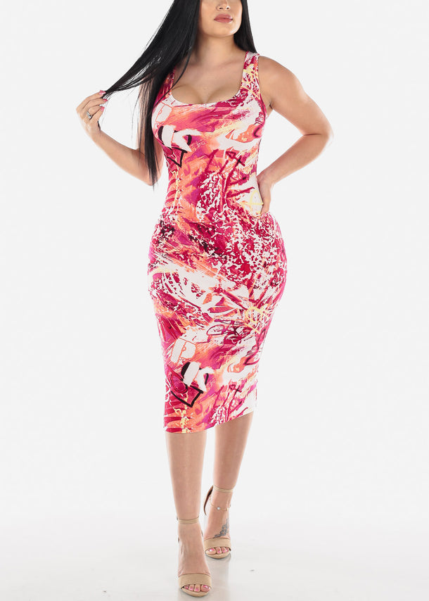 Red Multicolor Printed Bodycon Midi Dress