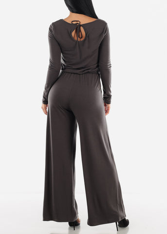 Image of Wide Leg Grey Jumpsuit