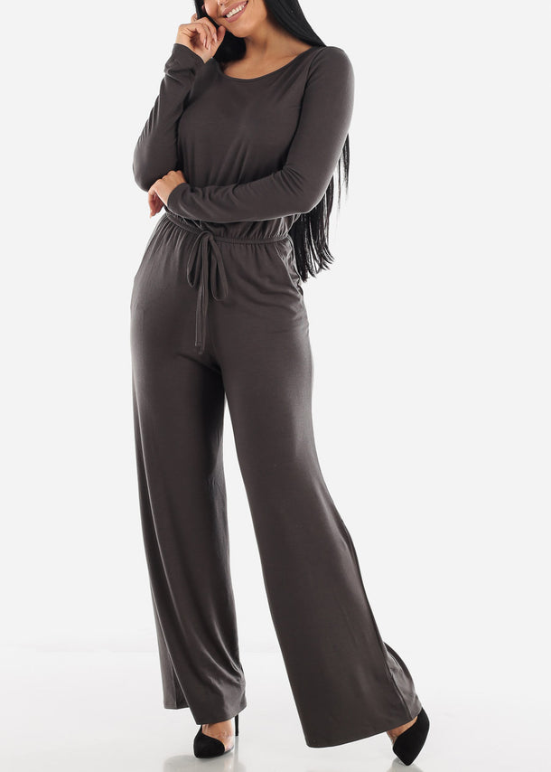Wide Leg Grey Jumpsuit