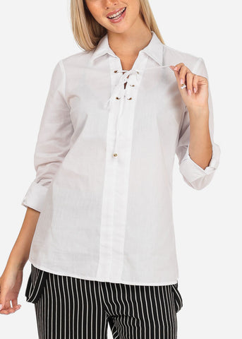 Image of Women's Junior Lady Casual Formal Professional Business Career Wear 3/4  Sleeve Lace Up Neckline White Shirt Blouse