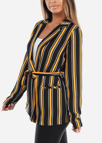 Image of Yellow Stripe Belted Blazer