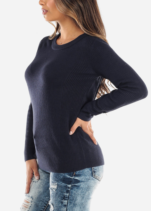 Navy Ribbed Round Neck Sweater