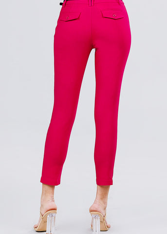 Image of Magenta Dressy Belted Pants
