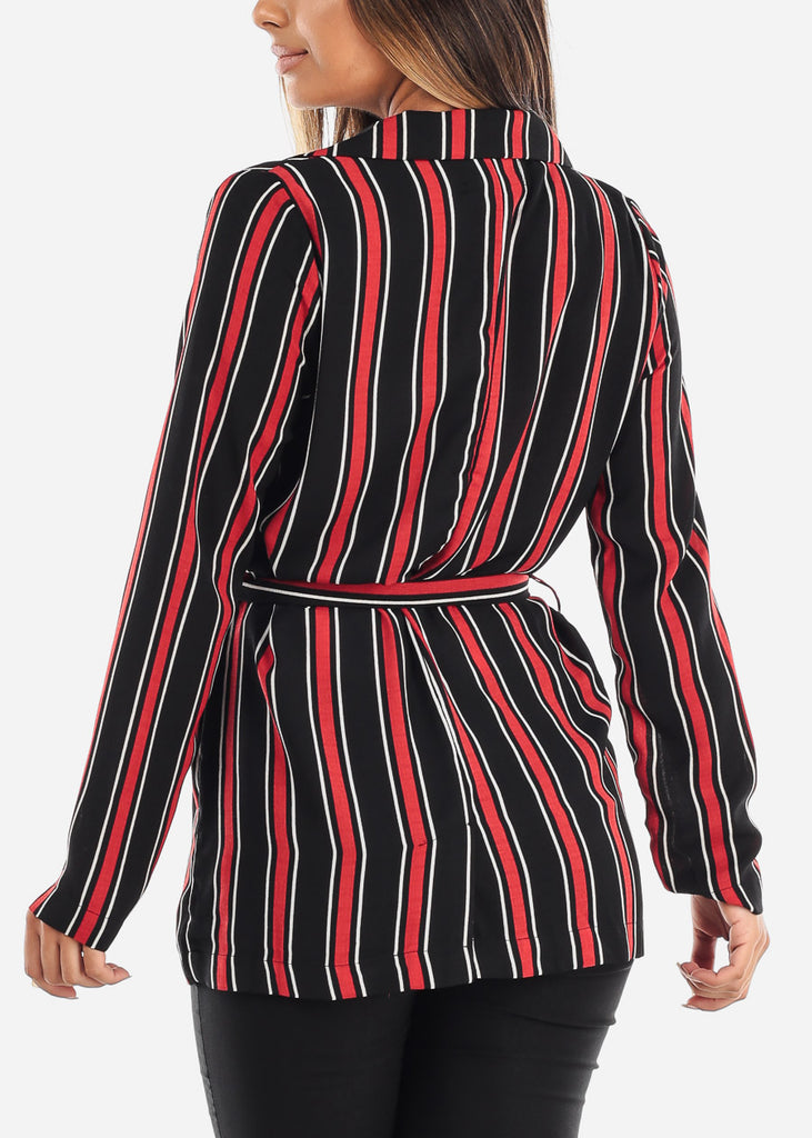 Red Stripe Belted Blazer