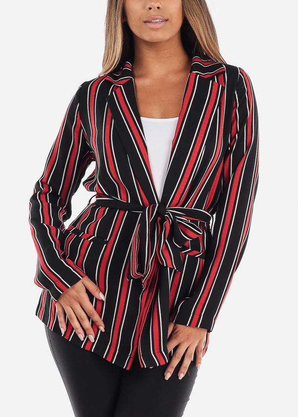 Stylish Tie Front Long Sleeve Red Stripe Office Business Wear Blazer