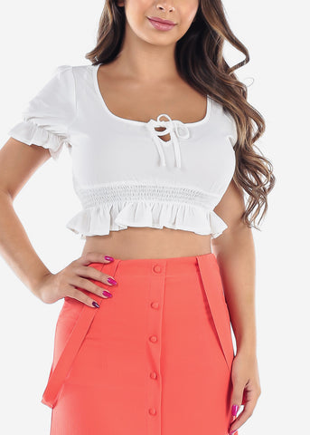Casual Sexy Summer Lightweight Short Sleeve White Crop Top For Summer Vacation Trip