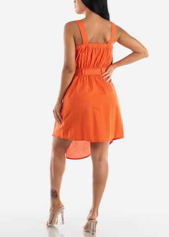 Sleeveless Orange Overall Dress