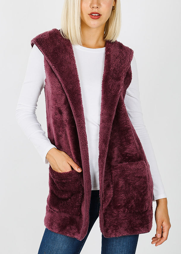 Egg Plant Faux Fur Vest W Pockets