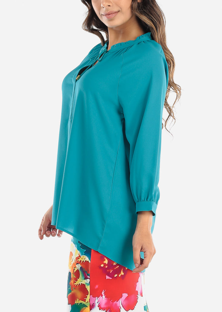 Teal Tie Neck Blouse