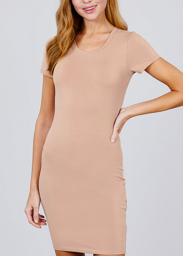 Casual Khaki Bodycon Mini Dress