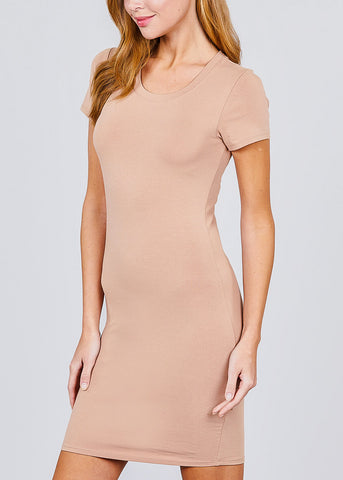 Khaki Bodycon Mini Dress