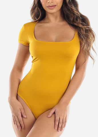 Image of Mustard Square Neck Bodysuit
