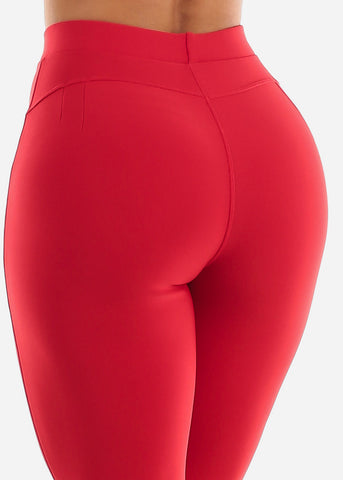 Dressy Butt Lifting Red Skinny Pants