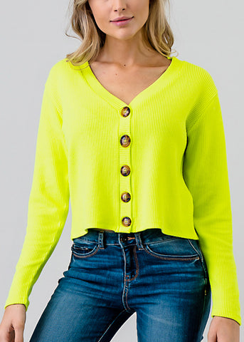 Neon Yellow Button Down Crop Top