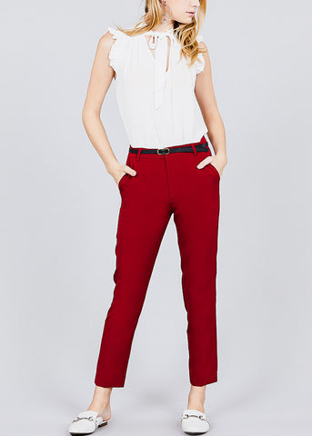 Image of Red Woven Dressy Pants