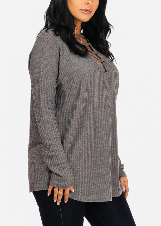 Cozy Charcoal Sweater Top