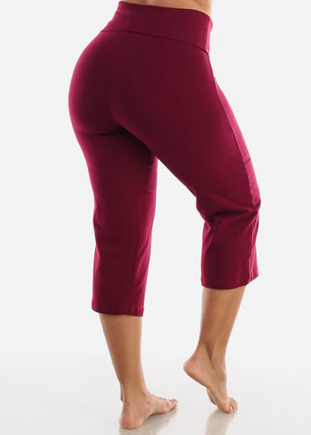 Burgundy Cotton Spandex Fold Over Crop Yoga Pants