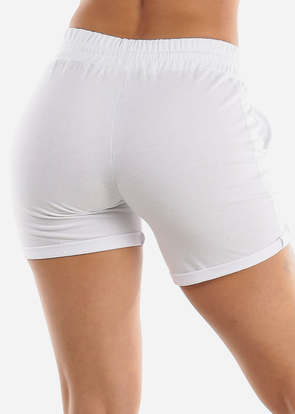 White Drawstring Biker Shorts