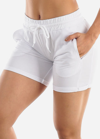 Image of White Drawstring Biker Shorts