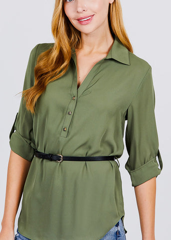 Image of Half Button Up Lightweight Olive Shirt