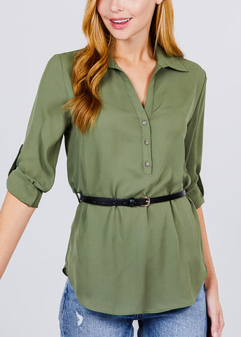 Half Button Up Lightweight Olive Shirt