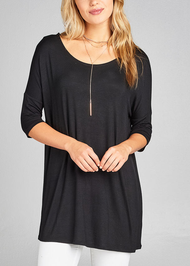 Casual Elbow Sleeve Round Neckline Solid Black Tunic Top