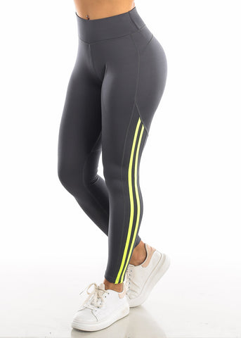 Activewear Green Side Stripe Black Yoga Pants
