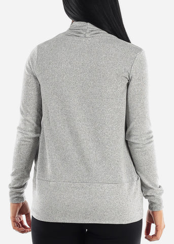 Image of Long Sleeve Open Front Grey Cardigan