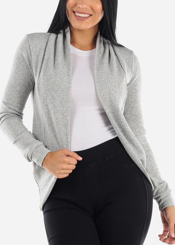 Long Sleeve Open Front Grey Cardigan