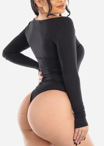 Image of Square Neck Button Up Black Bodysuit