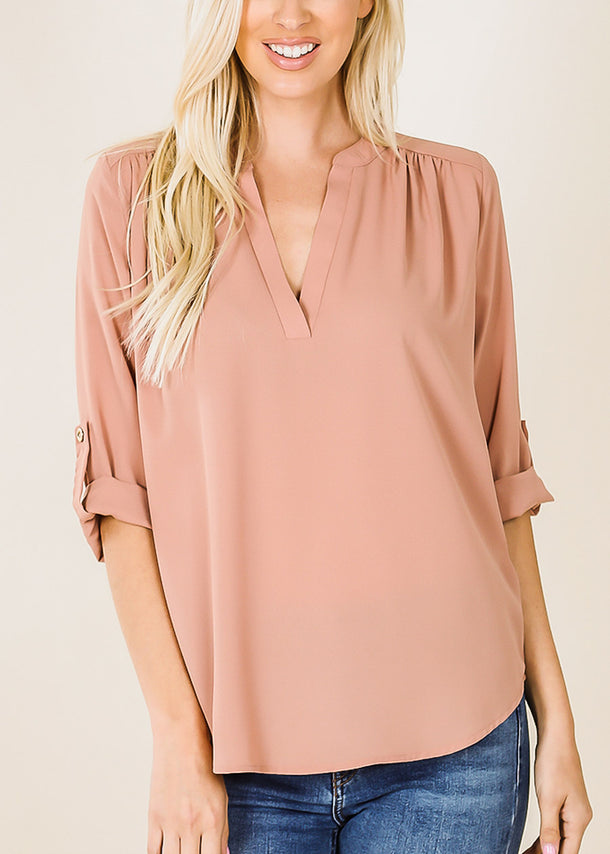 3/4 Sleeve Egg Shell Chiffon Blouse