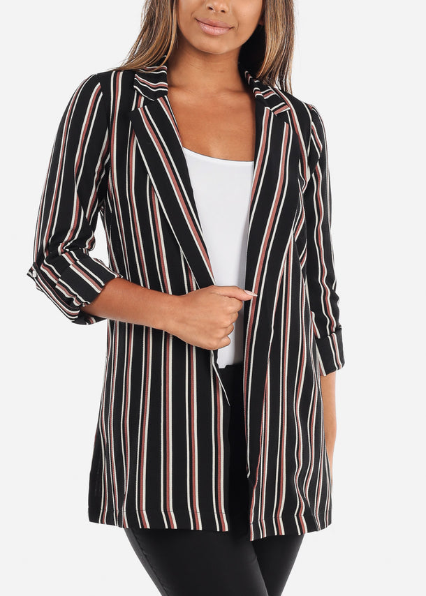 Stylish Office Business Wear 3/4 Sleeve Open Front Black Stripe Long Blazer