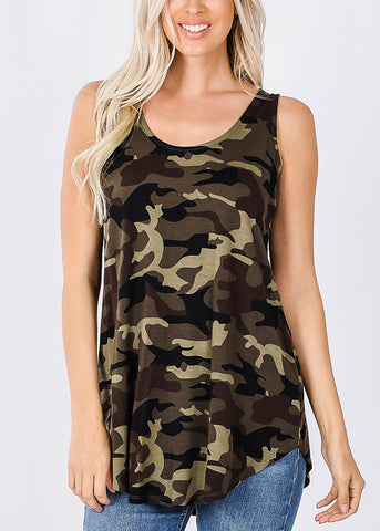 Sleeveless Camouflage Tunic Top