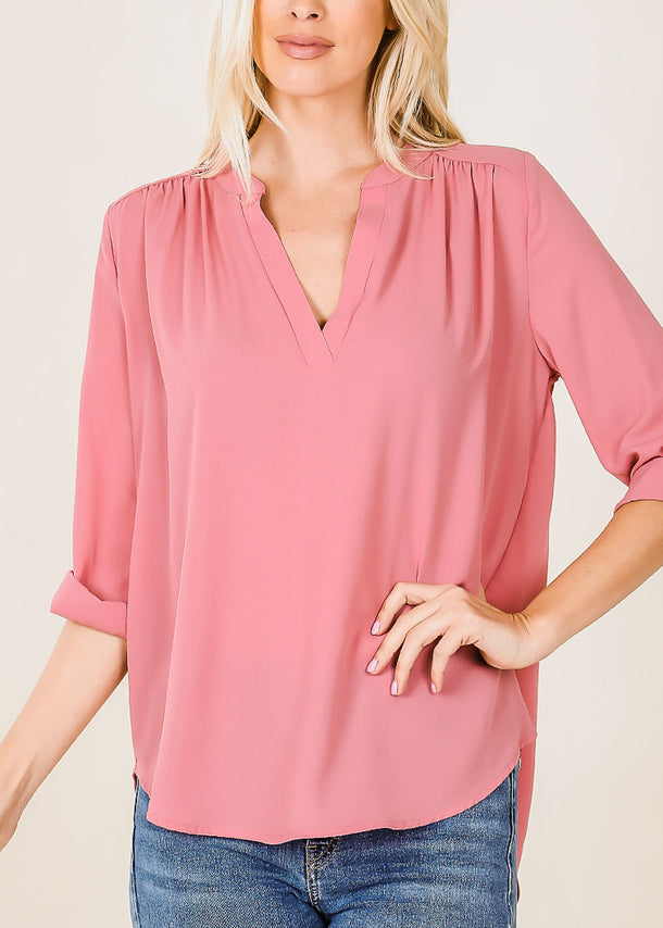 3/4 Sleeve Dusty Rose Chiffon Blouse